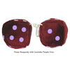3 Inch Burgundy Fuzzy Dice with Lavender Purple Dots