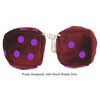 4 Inch Burgundy Fuzzy Dice with Royal Purple Dots
