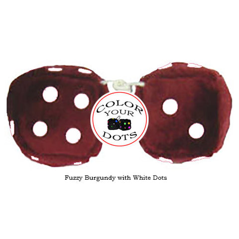 4 Inch Burgundy Fuzzy Dice with White Dots