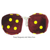 4 Inch Burgundy Fuzzy Dice with Yellow Dots