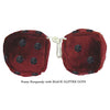 4 Inch Burgundy Fluffy Dice with BLACK GLITTER DOTS