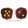 3 Inch Burgundy Fuzzy Dice with GOLD GLITTER DOTS