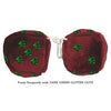 3 Inch Burgundy Fuzzy Dice with DARK GREEN GLITTER DOTS