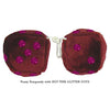 4 Inch Burgundy Fluffy Dice with HOT PINK GLITTER DOTS