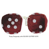 3 Inch Burgundy Fuzzy Dice with SILVER GLITTER DOTS