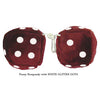 4 Inch Burgundy Fluffy Dice with WHITE GLITTER DOTS