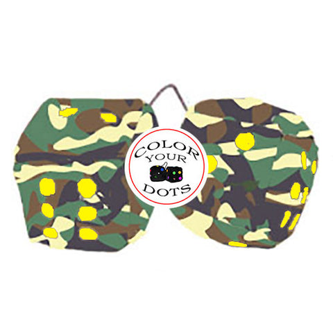 4 Inch Camouflage Fuzzy Dice