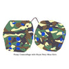 4 Inch Camouflage Fuzzy Dice with Royal Navy Blue Dots
