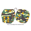 4 Inch Camouflage Fuzzy Dice with Goldenrod Dots
