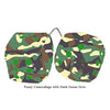 4 Inch Camouflage Fuzzy Dice with Dark Green Dots
