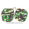 3 Inch Camouflage Fuzzy Dice with Lime Green Dots