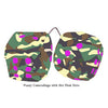 3 Inch Camouflage Fuzzy Dice with Hot Pink Dots
