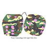 3 Inch Camouflage Fuzzy Dice with Light Pink Dots