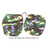 3 Inch Camouflage Fuzzy Dice with Lavender Purple Dots