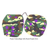 4 Inch Camouflage Fuzzy Dice with Royal Purple Dots