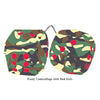 4 Inch Camouflage Fuzzy Dice with Red Dots
