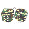 4 Inch Camouflage Fuzzy Dice with White Dots