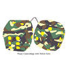 4 Inch Camouflage Fuzzy Dice with Yellow Dots
