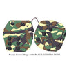 4 Inch Camouflage Fluffy Dice with BLACK GLITTER DOTS