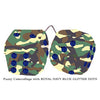 3 Inch Camouflage Fuzzy Dice with ROYAL NAVY BLUE GLITTER DOTS