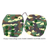 4 Inch Camouflage Fluffy Dice with DARK GREEN GLITTER DOTS