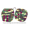 3 Inch Camouflage Fuzzy Dice with HOT PINK GLITTER DOTS