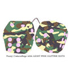 3 Inch Camouflage Fuzzy Dice with LIGHT PINK GLITTER DOTS