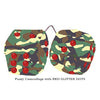 4 Inch Camouflage Fluffy Dice with RED GLITTER DOTS