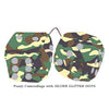 4 Inch Camouflage Fluffy Dice with SILVER GLITTER DOTS
