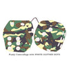 4 Inch Camouflage Fluffy Dice with WHITE GLITTER DOTS