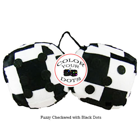 3 Inch Checkered Fuzzy Dice with Black Dots