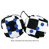3 Inch Checkered Fuzzy Dice with Royal Navy Blue Dots
