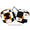 3 Inch Checkered Fuzzy Dice with Orange Dots