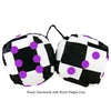 3 Inch Checkered Fuzzy Dice with Royal Purple Dots