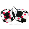 3 Inch Checkered Fuzzy Dice with Red Dots