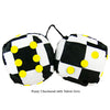 3 Inch Checkered Fuzzy Dice with Yellow Dots