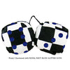 3 Inch Checkered Fuzzy Dice with ROYAL NAVY BLUE GLITTER DOTS