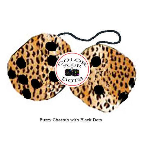 4 Inch Cheetah Fuzzy Dice with Black Dots