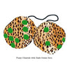 3 Inch Cheetah Fuzzy Dice with Dark Green Dots