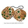 3 Inch Cheetah Fuzzy Dice with DARK GREEN GLITTER DOTS