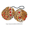 3 Inch Cheetah Fuzzy Dice with RED GLITTER DOTS