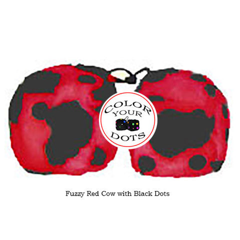 3 Inch Red Cow Fluffy Dice with Black Dots