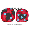3 Inch Red Cow Fluffy Dice with Light Blue Dots