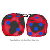 3 Inch Red Cow Fluffy Dice with Royal Navy Blue Dots