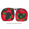 3 Inch Red Cow Fluffy Dice with Dark Green Dots