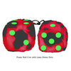 3 Inch Red Cow Fluffy Dice with Lime Green Dots