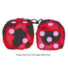 3 Inch Red Cow Fluffy Dice with Light Pink Dots