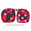 3 Inch Red Cow Fluffy Dice with Lavender Purple Dots