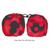 3 Inch Red Cow Fluffy Dice with Red Dots