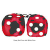 3 Inch Red Cow Fluffy Dice with White Dots